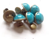 Turquoise  Rivets Antique Brass  Finish 2-parts  Faux -  Free Shipping USA