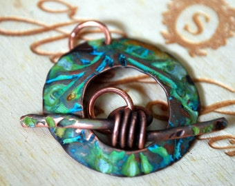 Blue Rust Venus Round Toggle Clasp in Copper - Handmade Free Shipping US