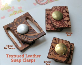 Textured Leather Snap Clasp ~40mm wide for Beaded Designs Qty 1