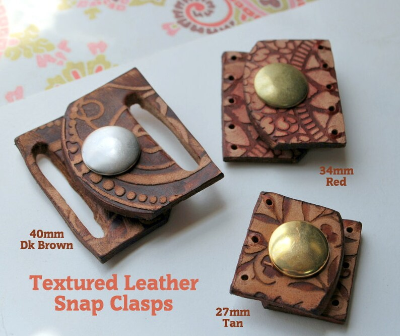 Textured Leather Snap Clasp  27mm wide for Beaded Designs Qty image 0