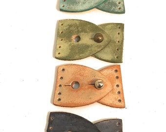 Leather Leaf Adjustable Clasp ~ 25mm wide for Beaded Designs Qty 4