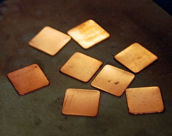 "Qty 8 - 1/2"" Square Copper or Brass Raw Blanks - FREE SHIPPING"