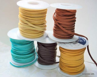 "50 feet 3/16"" Deer Skin Lace - Your choice of color  Free Shipping USA"