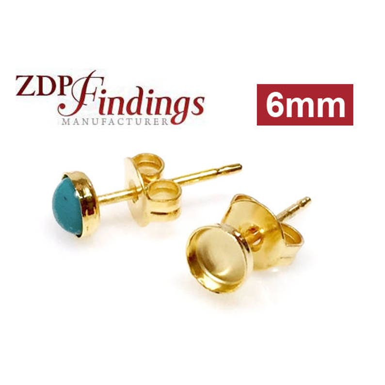6106GF 4pcs x Round 6mm Bezel Cups 14k Gold Filled Earring Backs included