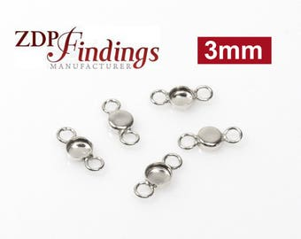 50pcs x Round 3mm Bezel Cups with 2 Loops Sterling Silver 925 (RD34)