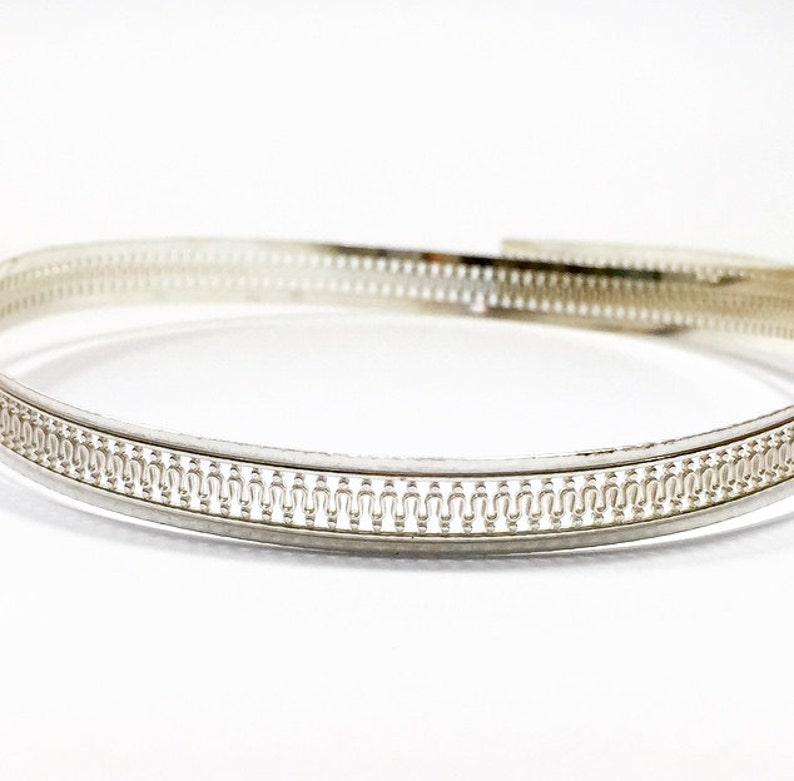x 7mm Width Sterling Silver 935 Round Strip Gallery Decorative Ribbon 30.5cm Pattern wire C000788 12 Inch