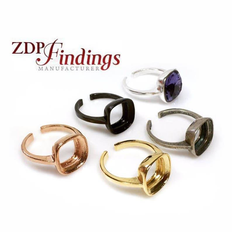 99ca1ba1e 2pcs x Square Cushion 10mm Bezel Ring For Gluing Swarovski   Etsy