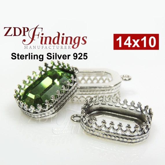 f4eae2e34222 2pcs x Octagon 14x10mm Quality Cast Crown Bezel Sterling