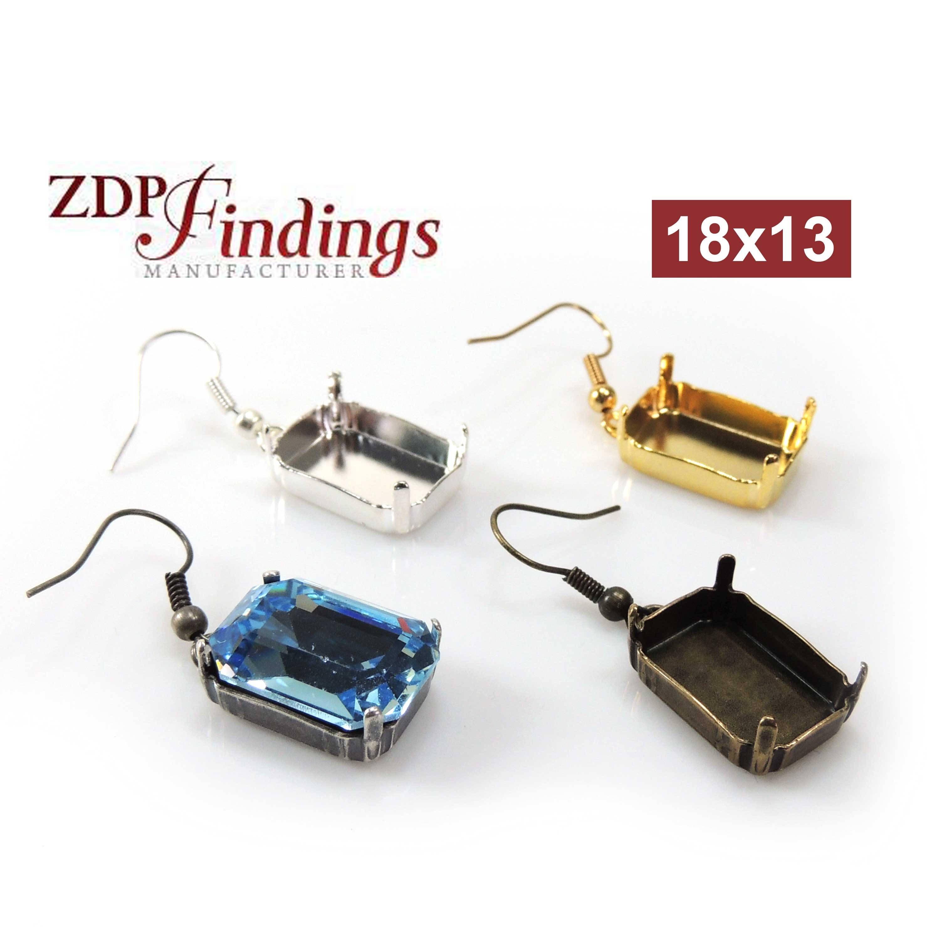 5b02caab4a2d Octagon 18x13mm Bezel Ear Wire Earrings fit Swarovski 4610
