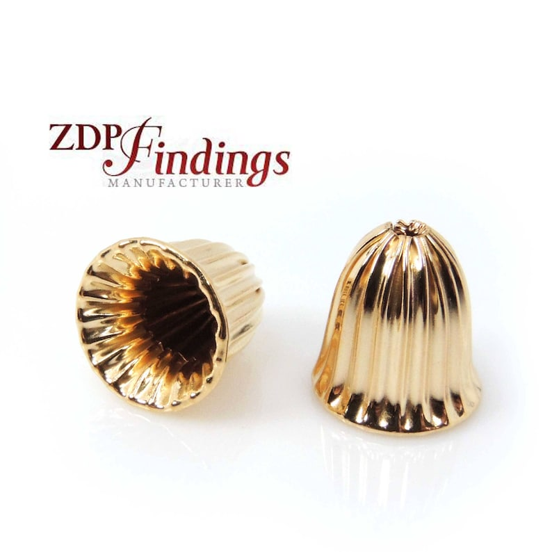 1.5mm hole B910112 2pcs x 14K Gold Filled Delicate End Caps 12x12mm Laser Diamond Cut Textured Spacer Beads