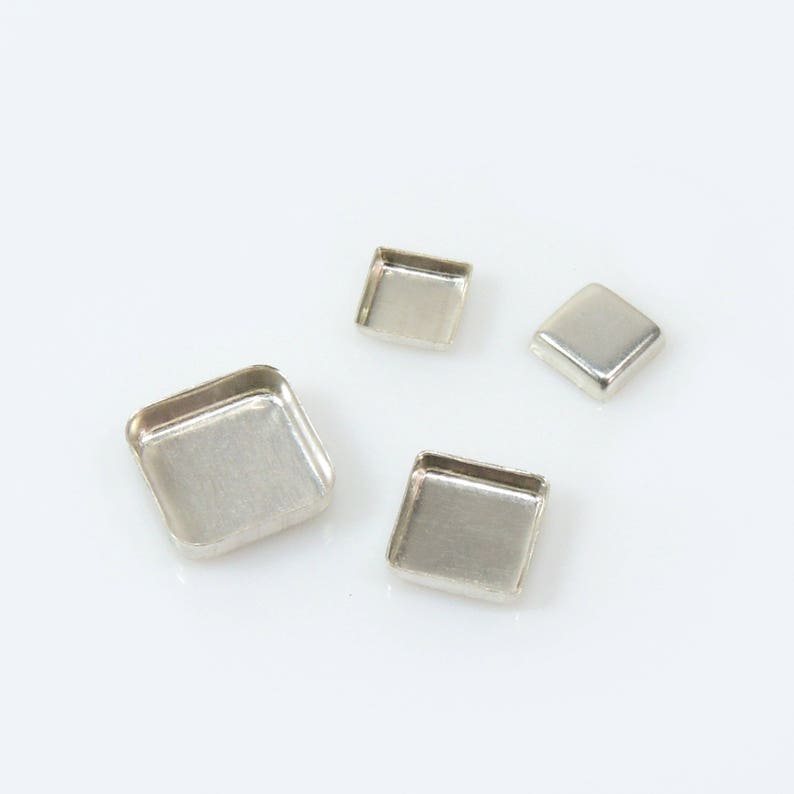 925 Sterling silver Bezel Cup SQXCVAR Choose Your Size 6pcs x Square Closed Corners Bezel Tray Resin Jewelry