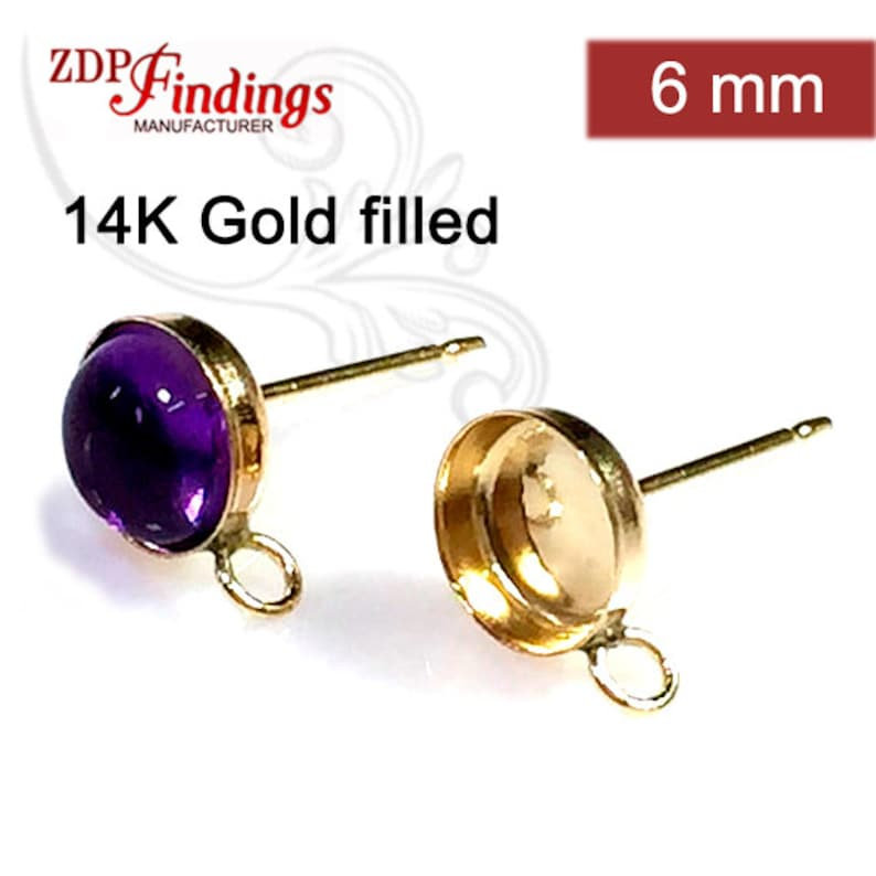 4pcs x Bezel Cups 6mm with Ring 14k Gold filled Earring Backs included 6116GF