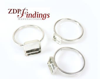 15 off 2pcs Ring Blanks Base Square Closed Corners Bezel Tray Jewelry, 925 Sterling silver DIY, Choose Your Bezel/Ring Size (XRSQX)