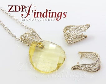 2Pcs X 925 Sterling Silver Pinch Bail for dangle pendant with hole, Filigree texture 14x8mm, Choose your Finish (A0918V)