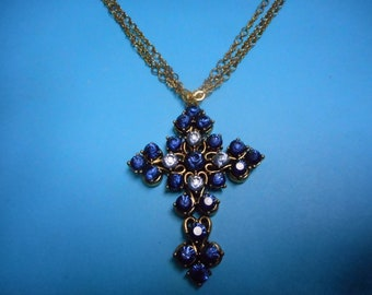 Deep Blue Crystal Cross Earrings
