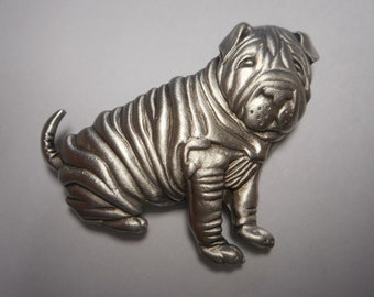 Rottweiler Dog Pin Badge in Fine English Pewter Handmade