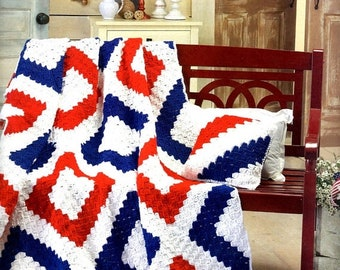JulySale Crochet Afghan Liberty 4th of July Patriotic Gift Present Birthday Mother Day Wedding Graduation Made to Order