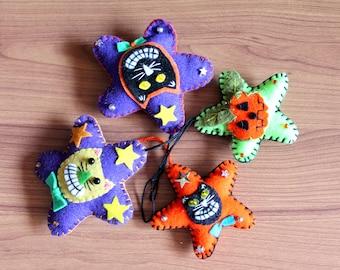 Felt Halloween Cat Ornaments, Handmade Felt ornaments for Halloween, Halloween Decorations