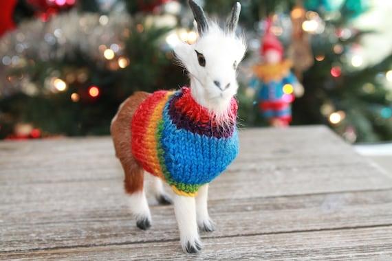 Christmas Goat.Christmas Goat In Handmade Sweater Ornament Handmade Knit Sweater Or Jumper