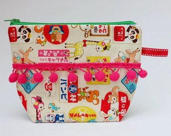 Japanese Bright Animal Kawaii Fabric and Pom Pom Trim Make Up Bag, Cosmetics Bag, Toiletry Bag, Roomy Zip Pouch