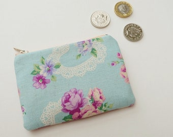 Pretty Little Zip Pouch in Duck Egg Blue and Lilac Rose, Cotton Linen Tiny Purse, Gift Under 5