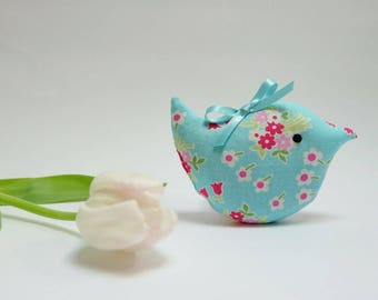 Lavender Sachet Bird, Pretty Turquoise Blue Floral Fabric Scented Bird, Scented Sachet Gift