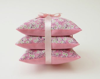 Liberty Print Pink Mitsi Lavender Sachets, Lavender Pillow Trio in Floral Sprig Fabric, Lavender Drawer Sachets