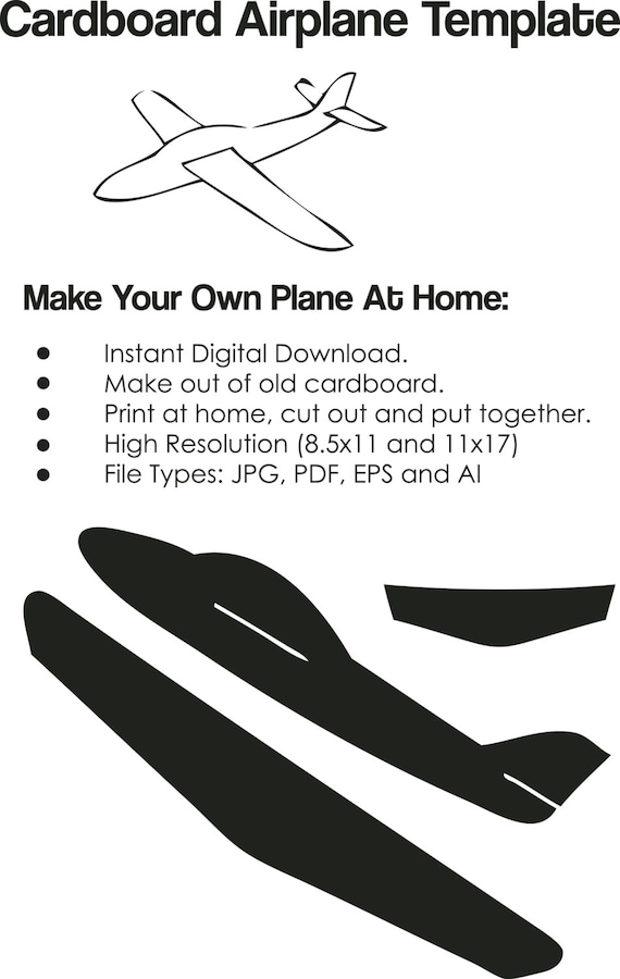 cardboard airplane template airplane cutout on paper etsy