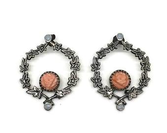 Ivy Earrings | Coral Flower Earrings | Silver Flower Earrings | Vintage Inspired | Small Opals | One of a Kind | Handmade Jewelry