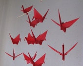 "14 Large Origami Cranes Mobile - Akane (vibrant red), folded from 6"" Solid Origami, Red, Vibrant Red, Home Decor, Bridal Shower, Nursery"