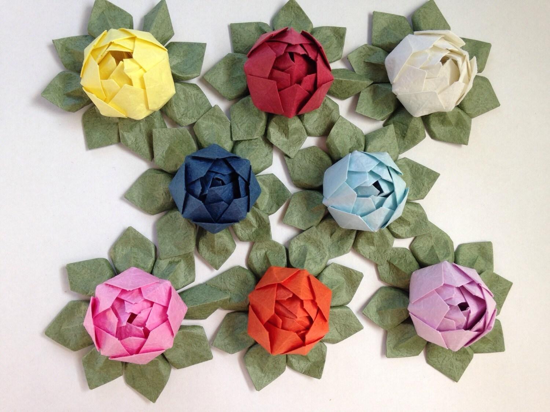 Mini Origami Lotus Flower Set Of 8 Japanese Special Etsy