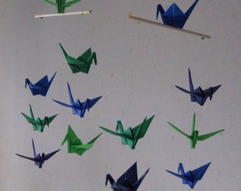 """SALE 30% OFF - 14 Small Origami Cranes Mobile - Blue and Green, folded from 3"""" Solid Origami in Green, Navy and Ultramarine, Home Decor"""