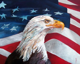 NOT ARROGANT - JUST PROUD Matted Giclee Print Eagle and Flag