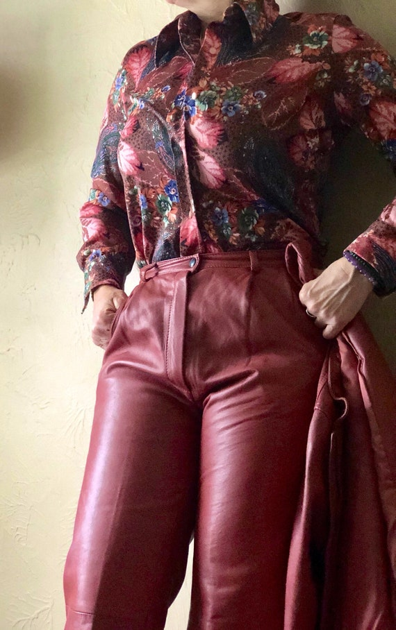 Vintage Leather Pants Women's 1980's Made In Italy