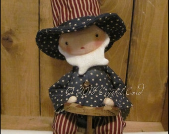 Americana Uncle Sam doll boy stars and stripes Whimsical farmhouse spring summer cottage decor chic shabby primitive creepy cute Farm Quirky