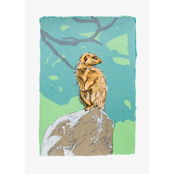 Meerkat Limited Edition Screen Print by Fiona Hamilton