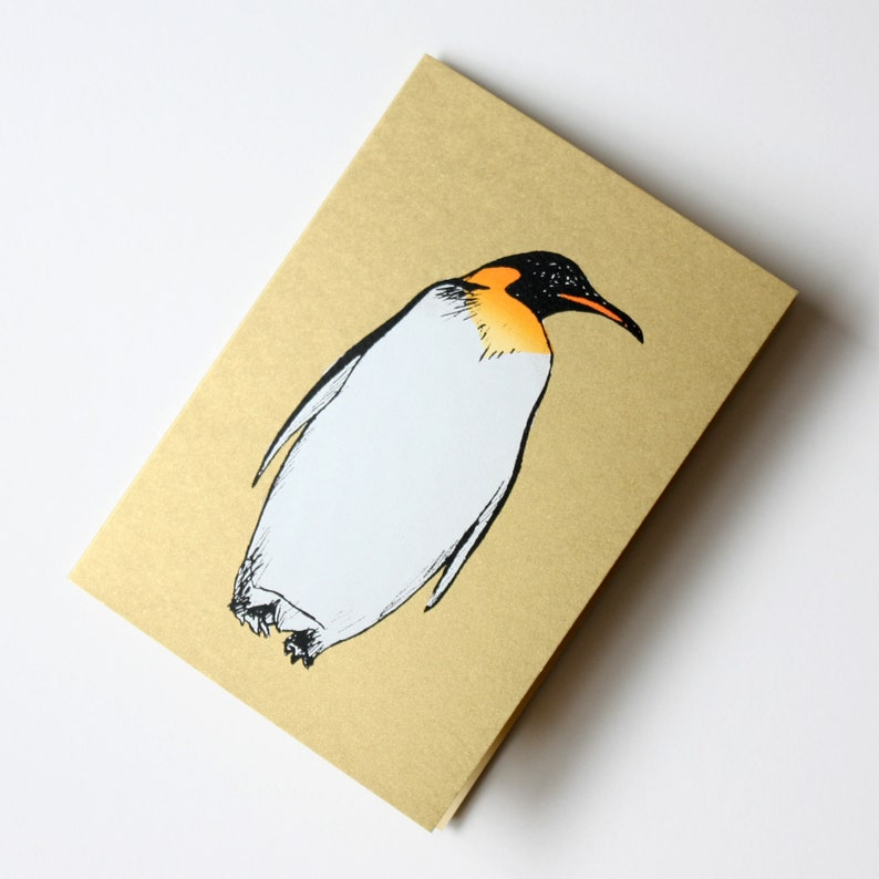Penguin on Gold Hand Screen Printed Christmas Greeting Card by image 0