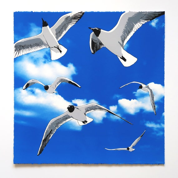 Colony of Black Headed Gulls Limited Edition Screen Print by Fiona Hamilton