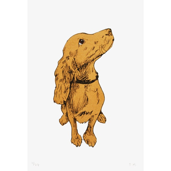 Golden Puppy Hand Pulled Limited Edition Screen Print by Fiona Hamilton