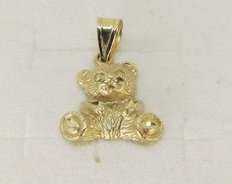 Teddy Bear Pendant 14Kt Gold