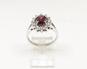 Ruby and Diamond Oval Cluster Ring
