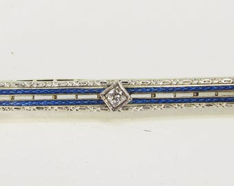 14Kt Two-tone and Enamel Bar-pin