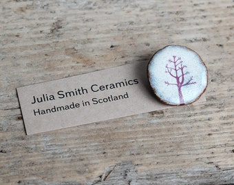 Ceramic Pink Winter Tree Brooch