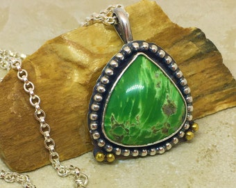 Green variscite teardrop pendant in sterling silver with rolo link chain.  Green gemstone pendant. OOAK pendant necklace