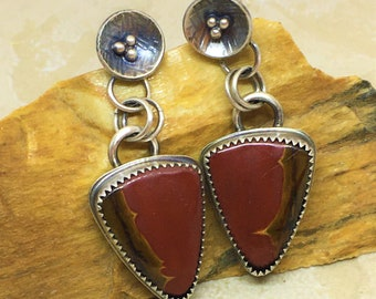 Cherry Creek Jasper earrings/Picasso Jasper/Southwest style earrings/dangle earrings with posts/triangle stones/red and brown stones/Devine