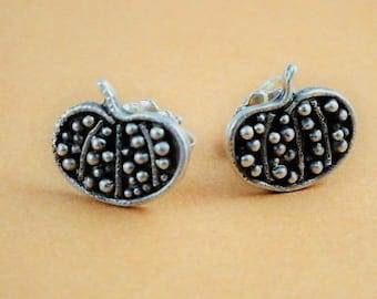 Pumpkin earrings. Pumpkin studs. Fall jewelry. Halloween earrings. Harvest earrings.