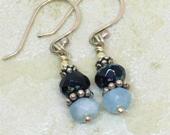 Aquamarine and black bead stack earrings in sterling silver. Simple bead stack earrings. Minimalist gemstone earrings. Black and blue