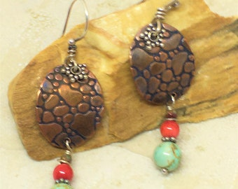 Copper textured ovals with bead stack drop earrings. Reptile skin copper earrings with turquoise and coral. Mixed metal earrings with stones