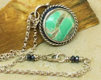 Round variscite gemstone pendant with hematite on sterling rolo link chain.  OOAK pendant necklace with green and grey varisite gemstone