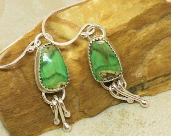 Green variscite gemstone earrings in sterling silver with dangles.  Southwestern style gemstone dangle earrings.  Green gemstone dangles